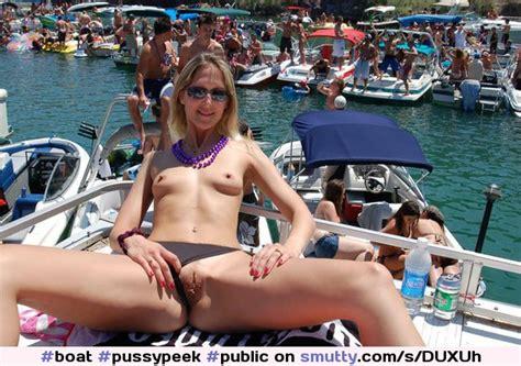 Boat Pussypeek Public Topless Bikini Flash Blonde