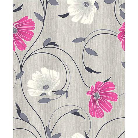 Crown Decor Centre by B Amp M Gt Crown Sheena Grey Pink Motif Wallpaper 288188