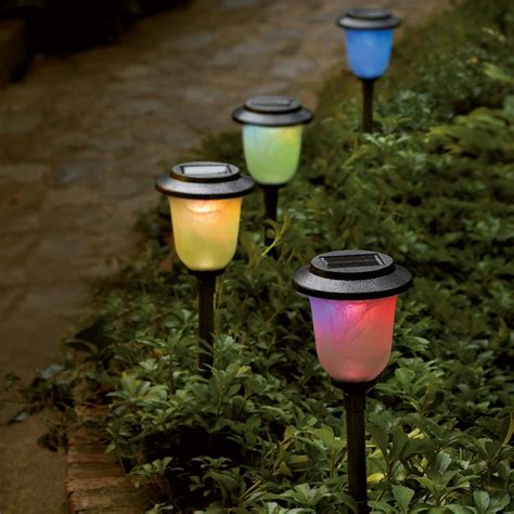 solar color changing pathway light