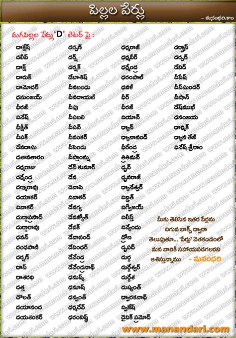 tags telugu baby boys names starting with d letter