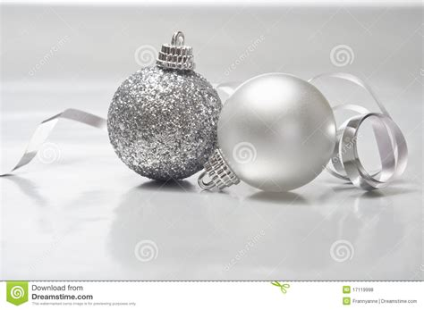 silver christmas baubles stock photo image
