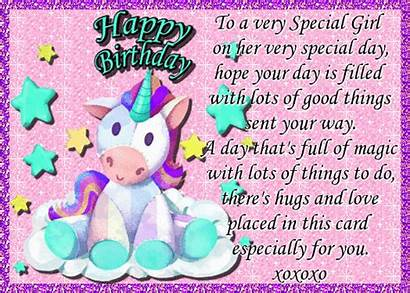 Special Birthday Wishes Unicorn Greetings Glrl Magical