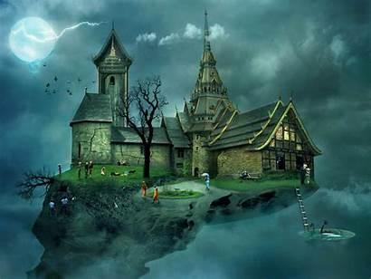 Castle 3d Wallpapers Backgrounds Fantasy Floating Houses