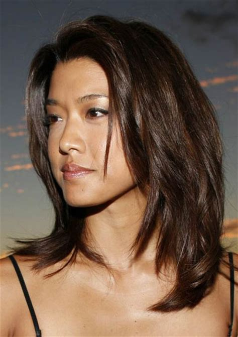 grace parks mid length layered hairstyle casual