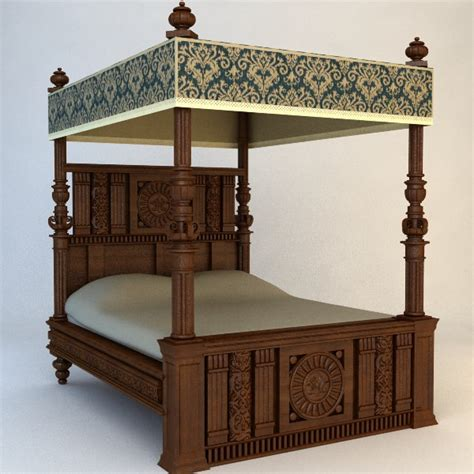 antique canopy bed  model max obj ds fbx cgtradercom