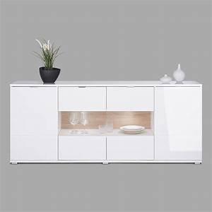 Kommode Sonoma Eiche Weiß : sideboard glossy 5 kommode wei hochglanz sonoma eiche inkl led ebay ~ Bigdaddyawards.com Haus und Dekorationen