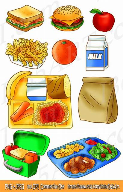 Lunch Clipart Tray Bag Sandwich Snack Brown
