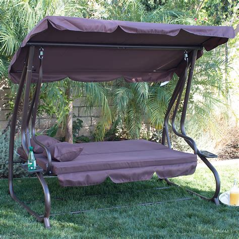 canapé swing 3 person outdoor swing w canopy seat patio hammock