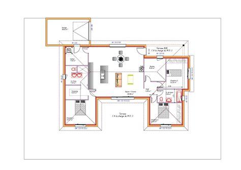 plan maison en u ouvert 224 toit plat avec garage plans
