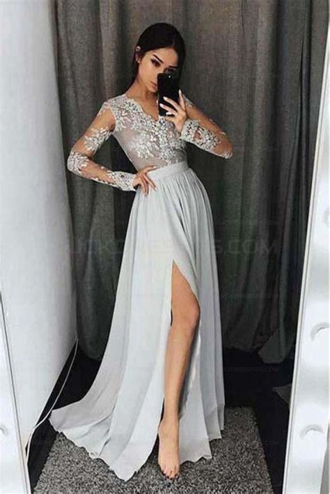 long sleeves  neck lace prom evening formal dresses