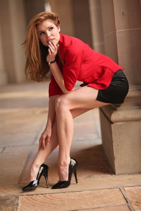 Greatlegsandhighheels Lovely Red Head Leggy In A Short