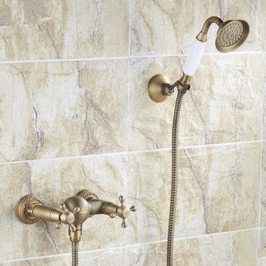 Antique Brass Finish Two Handles Tub Tap with Hand Shower