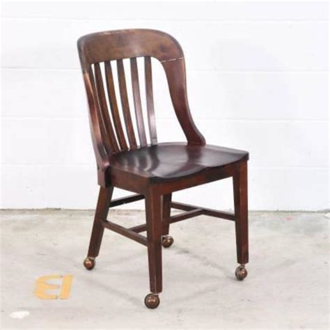 wooden desk chair w wheels loveseat vintage furniture