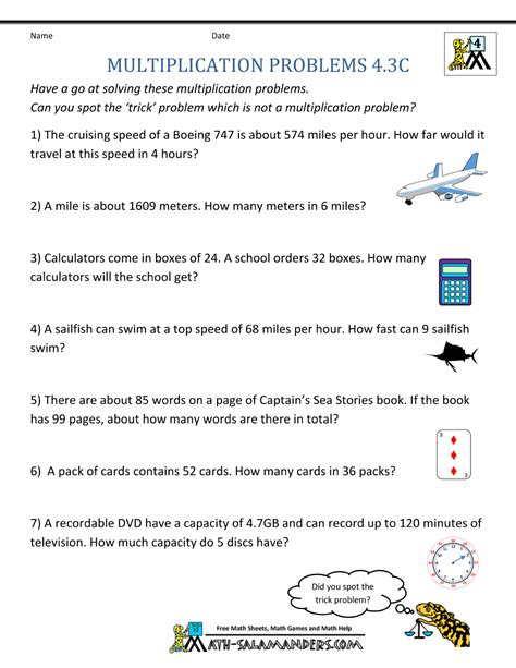 multiplication word problems 4th grade