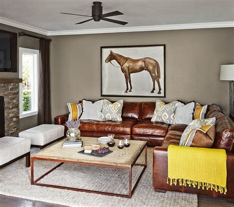 Transitional Living Room Leather Sofa by Leather Sectional Living Room Transitional With