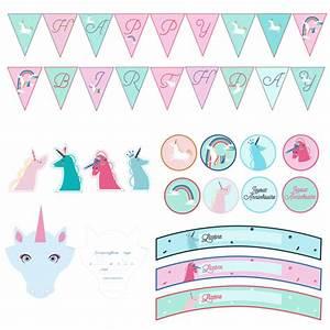 D Day Deco : printable anniversaire licorne kit deco imprimer achat ~ Zukunftsfamilie.com Idées de Décoration