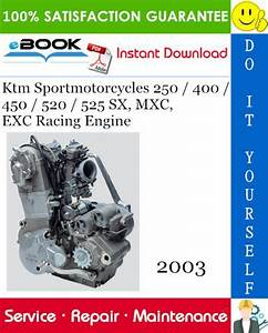 2003 Ktm Sportmotorcycles 250    400    450    520    525 Sx  Mxc  Exc Racing Engine Service Manual