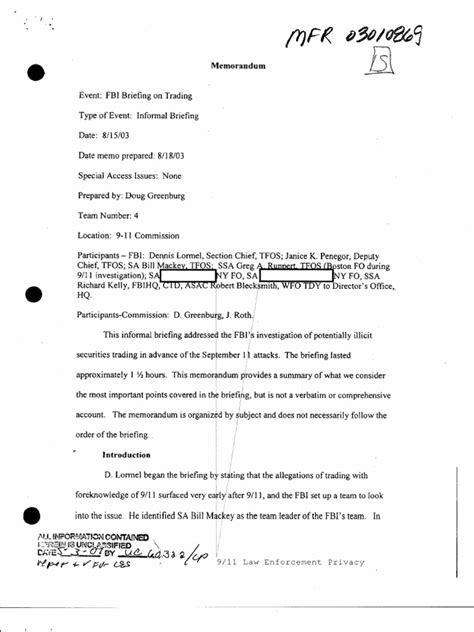 You'll forward the message to the client, wait for as long as they've yet to respond, and follow up. Mfr Nara- t4- FBI- FBI Briefing on Trading- 8-15-03- 00269 ...