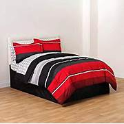 Red Black Grey White Bedroom by Red Black White Gray Rugby Boys Full Comforter Skirt And Sheet Bedding Set