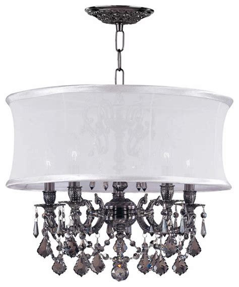 transitional pewter chandelier with white silk