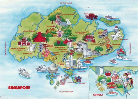 travel illustrated map  singapore singapore asia