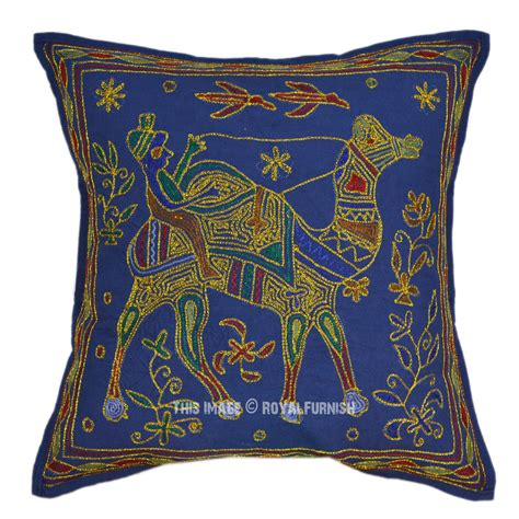 blue camel hand embroidery decorative toss pillow