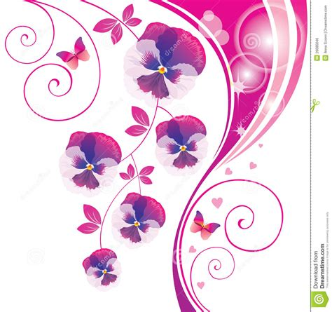 abstract background with pink viola and butterfly royalty
