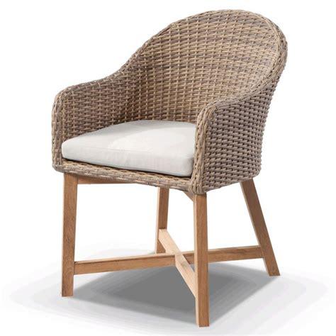 coastal wicker teak outdoor dining chair in wheat buy