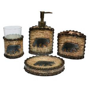 rustic bath decor bear bath accessories set