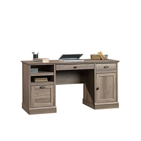 sauder computer desk salt oak sauder barrister engineered wood executive computer