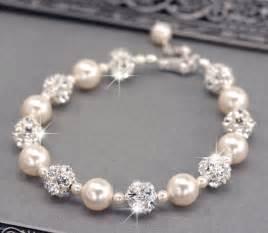 bridesmaid bracelet ivory pearl wedding bracelet swarovski pearl and rhinestone
