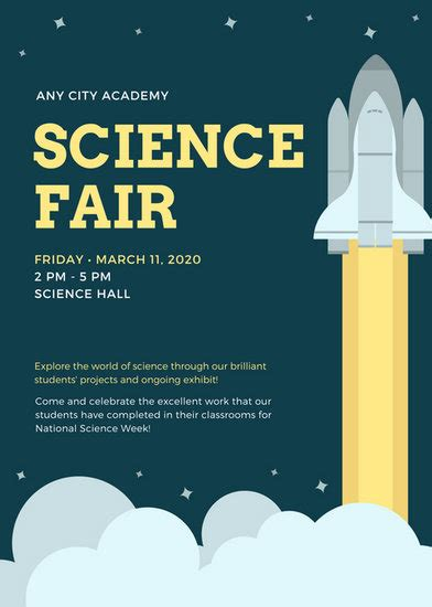 blue  yellow simple science flyer templates  canva