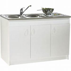 Meuble Sous Evier 120 Cm : meuble sous vier sim nf 120 x 60 cm 3 portes n ova ~ Melissatoandfro.com Idées de Décoration