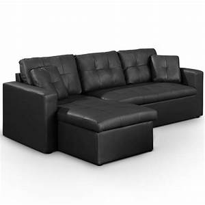 Canapé U Convertible : canap d 39 angle convertible simili cuir noir cuba ~ Teatrodelosmanantiales.com Idées de Décoration