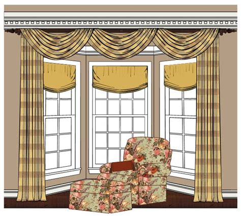 Swag Curtain Ideas For Living Room by Bay Window Treatments Minus The Dated Patterns And Swag