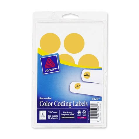 Avery 2020og Round Removable Custom Colorcoding Labels