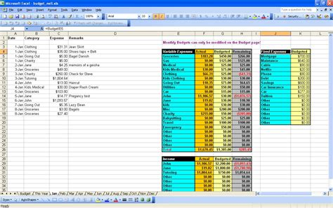 excel spreadsheet for budget oninstall