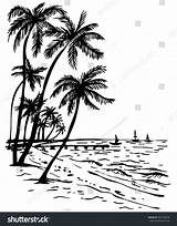 Palm Sunset Beach Trees Summer Drawing Tree Drawn Sketch Sea Hand Easy Getdrawings Illustration Shutterstock Vector sketch template