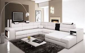 polaris white contemporary leather sectional sofa with With modern leather sectional sofa with built in light