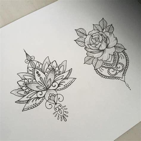 dessins tatouage mandala femme fleur de lotus  rose