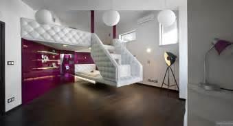 split level plush futuristic retro bedroom in white and patent fuscia with tripod spot l