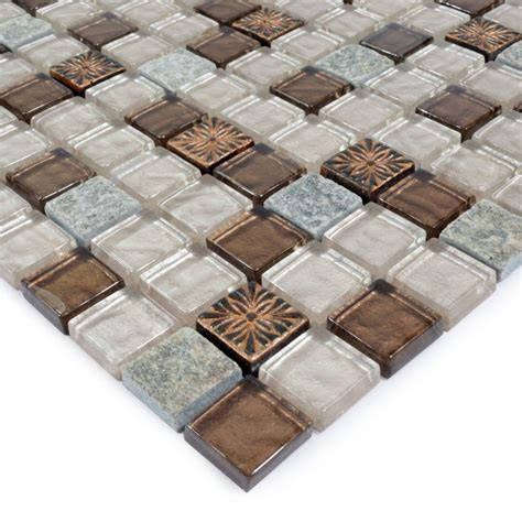 Stone Glass Mosaic Tile IceCrack Glass With Marble