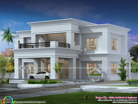 colonial type flat roof house architecture kerala home