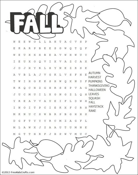 Printable Fall Word Search Puzzle