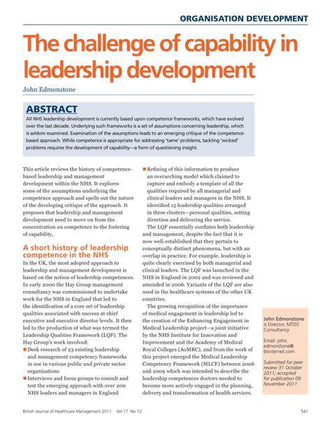 challenge  capability  leadership development