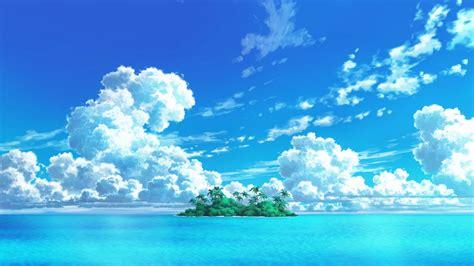 Anime Sky Wallpaper - 1920x1080 anime island clouds sky