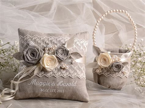 shabby chic ring bearer pillow flower girl basket ring bearer pillow set shabby chic natural linen embriodery names