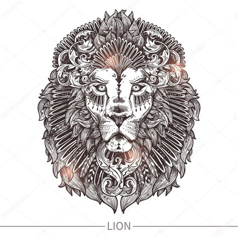 tete de lion tatouage ornemental image vectorielle