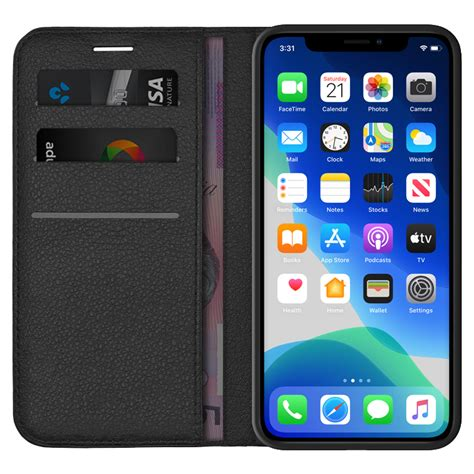 Thin card holder case for iphone xs 11 pro max xr zipper leather wallet shockproof silicone cover for iphone 5 5s 8 7 6 6s plus. Leather Wallet Case for Apple iPhone 11 Pro Max (Black)