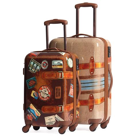 Vintage Style Suitcase With Wheels Mc Luggage